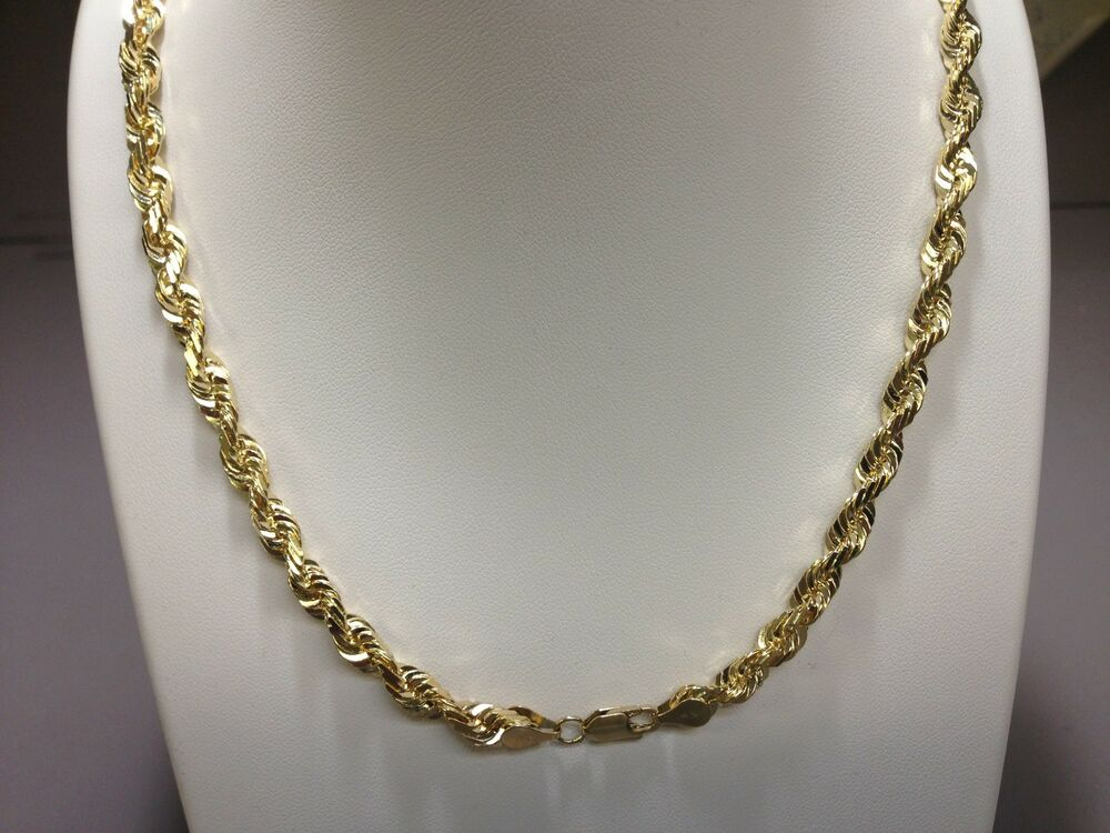 14kt solid gold diamond cut rope chain necklace 28 4 mm. Black Bedroom Furniture Sets. Home Design Ideas