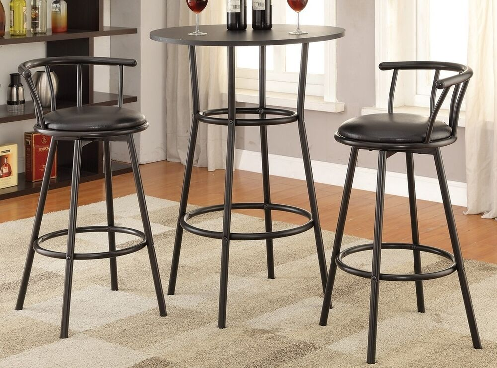 3 Pc Bar Stool Set Black Finish Round Top Counter Height 3