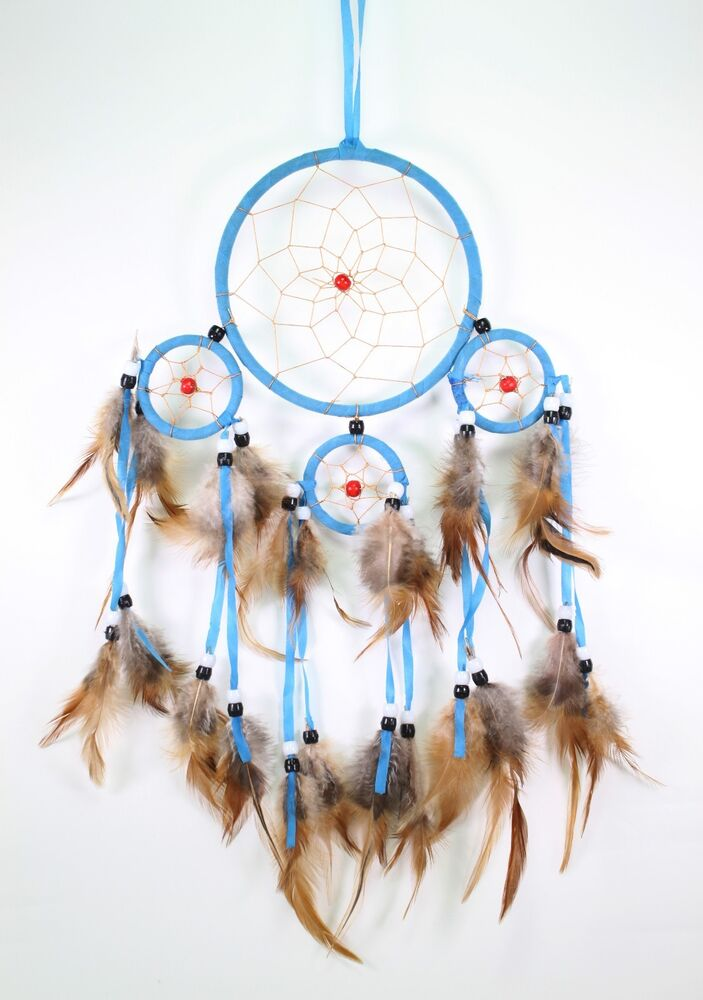 Blue handmade dream catcher with feathers wall hanging for Native american handmade crafts