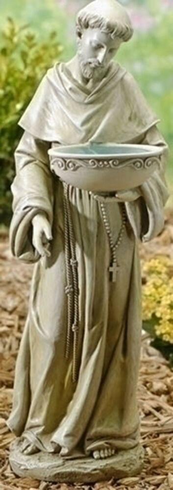 "Garden Statue St Francis: 20"" ST. FRANCIS Solar Powered BIRDBATH Indoor Outdoor"