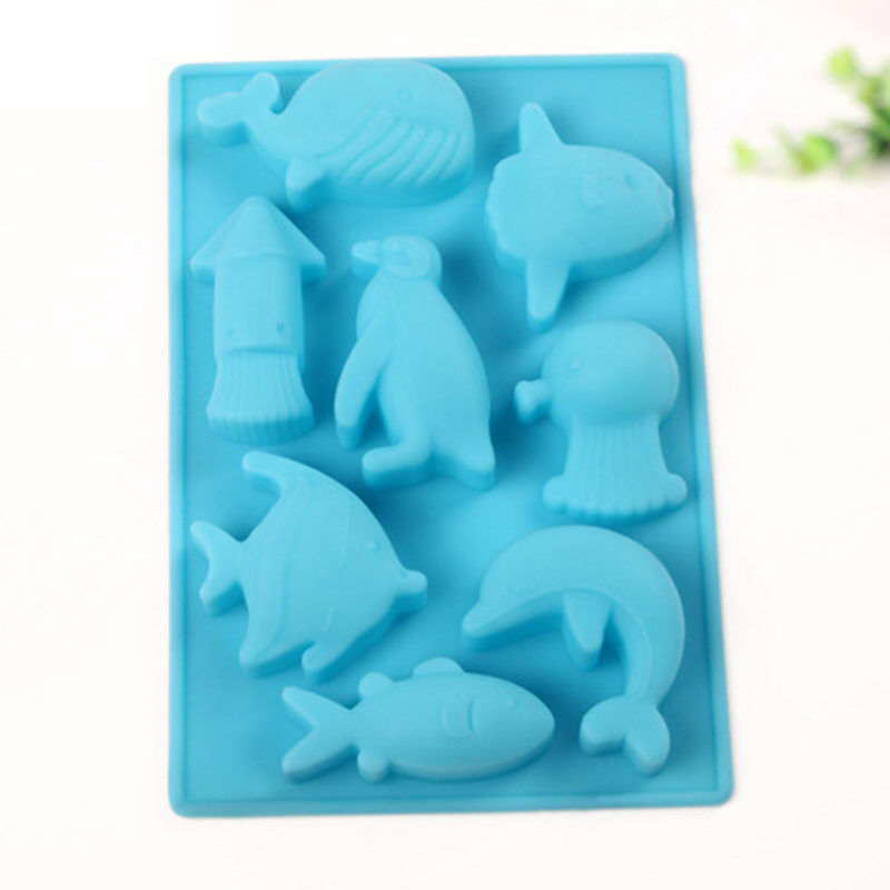 Cute marine dolphin fish silicone mold fondant cake for Silicone fish molds