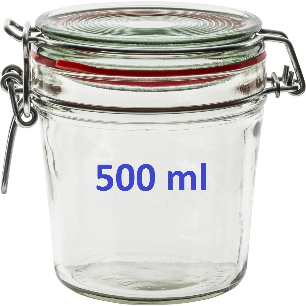 500 ml glass storage jar with air tight sealed clamp ideal. Black Bedroom Furniture Sets. Home Design Ideas