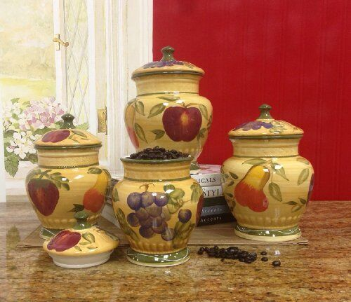 Vero Italian Kitchen: European Style Tuscan Fruit Grape Kitchen 4 Pc Canister
