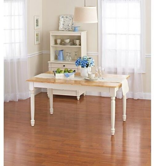 Wood Dining Room Table White Farm House Kitchen Furniture Country Decor Home New Ebay
