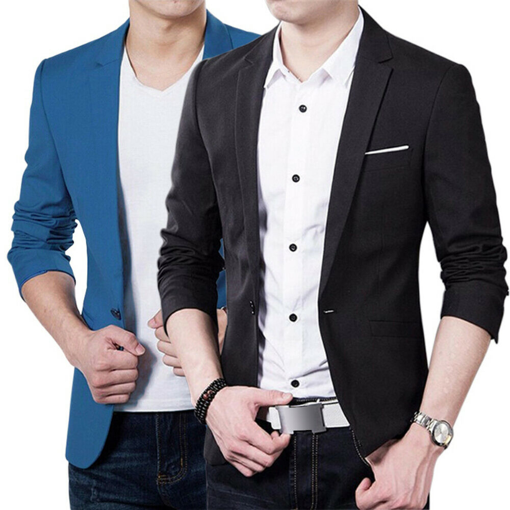 Fashion Stylish Men Casual Slim Formal One Button Suit Blazer Coat ...