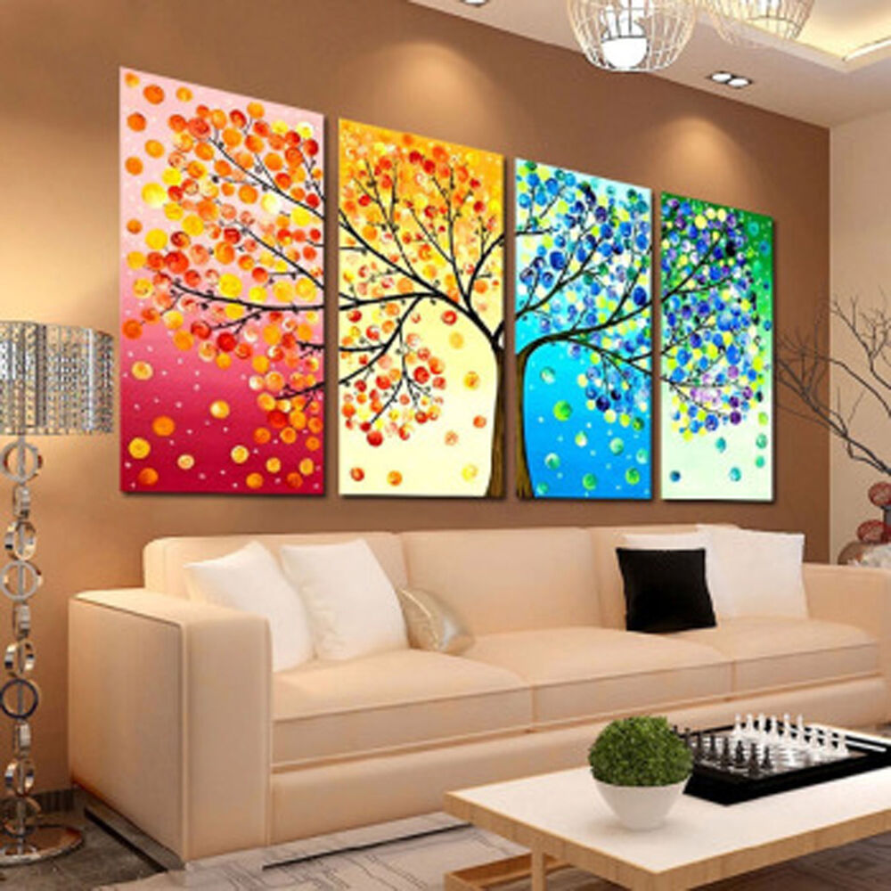 Colorful season tree home decor embroidery diy counted for Ebay decorations home