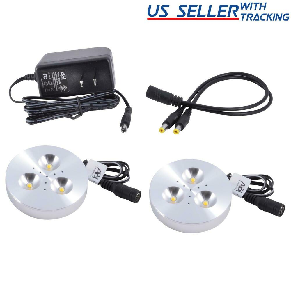 2X ABI 3W LED Puck Light Kit For Kitchen Bookshelf