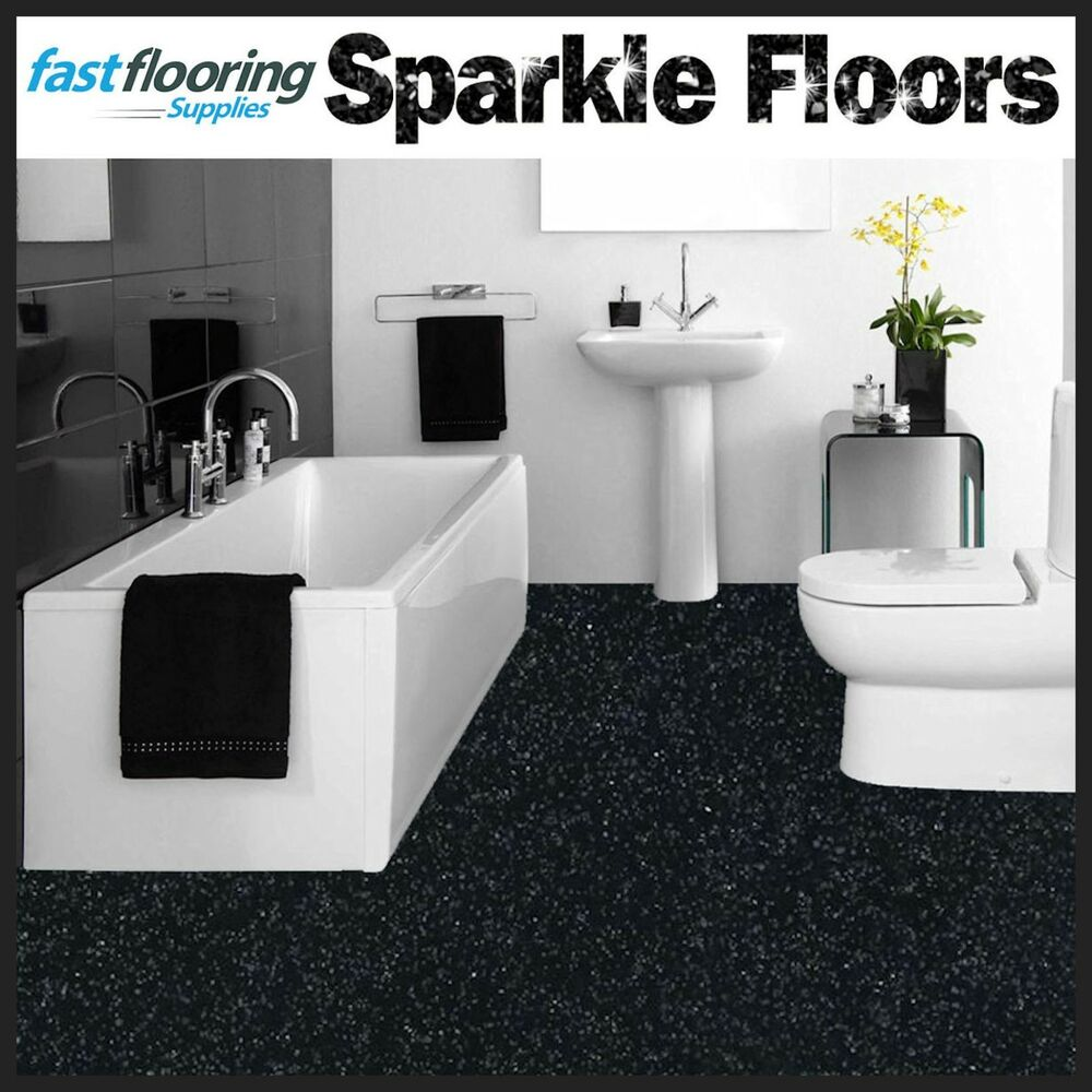 Grey Kitchen Lino: Altro Black Sparkly Bathroom Safety Flooring / Glitter