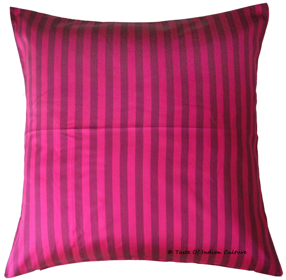 "Large 24"" Cushion Cover Silk Pillow Case Striped Sofa"