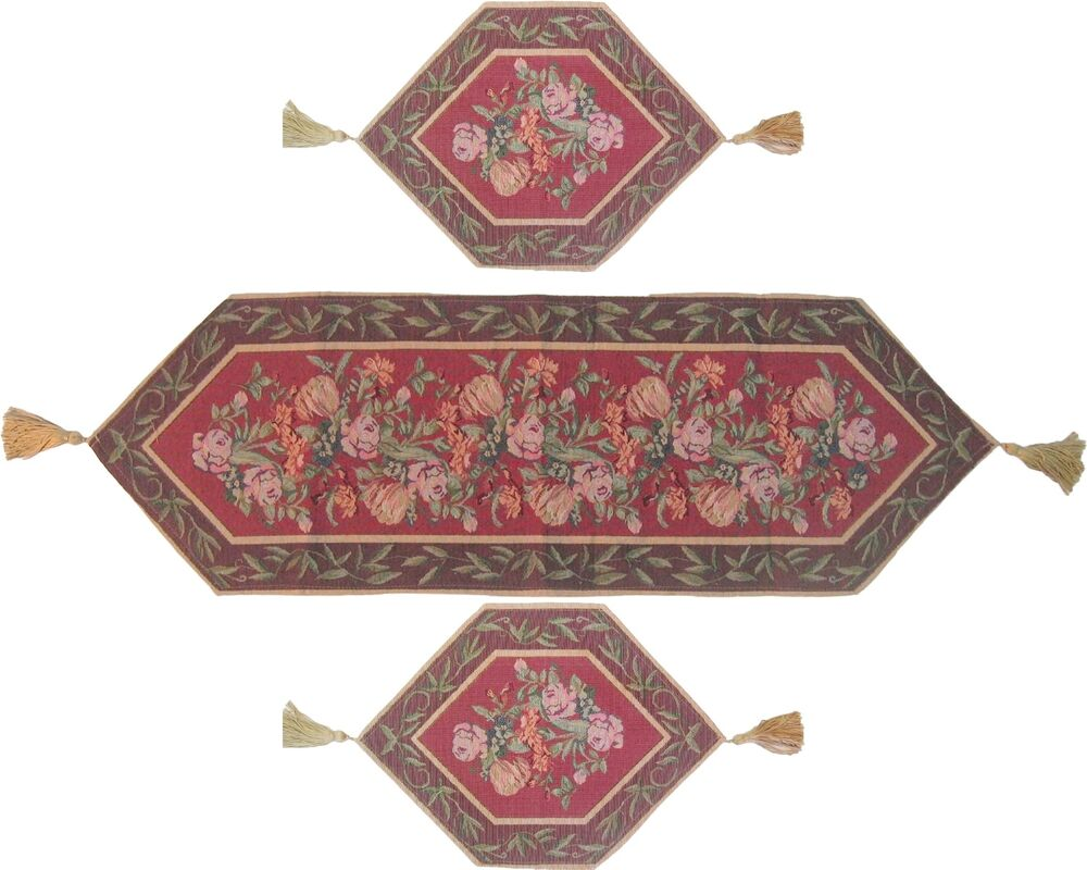 Dada Bedding Red Floral Romantic Roses Tapestry Table