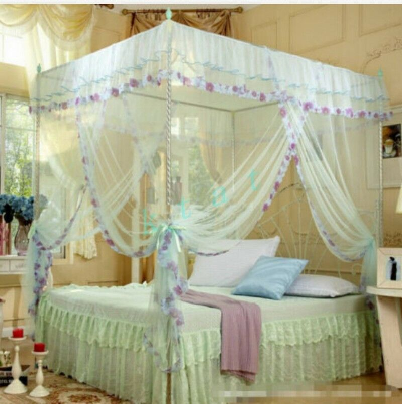 mosquito canopy for twin queen cal king size net post bed sweet 4 corners dream ebay. Black Bedroom Furniture Sets. Home Design Ideas