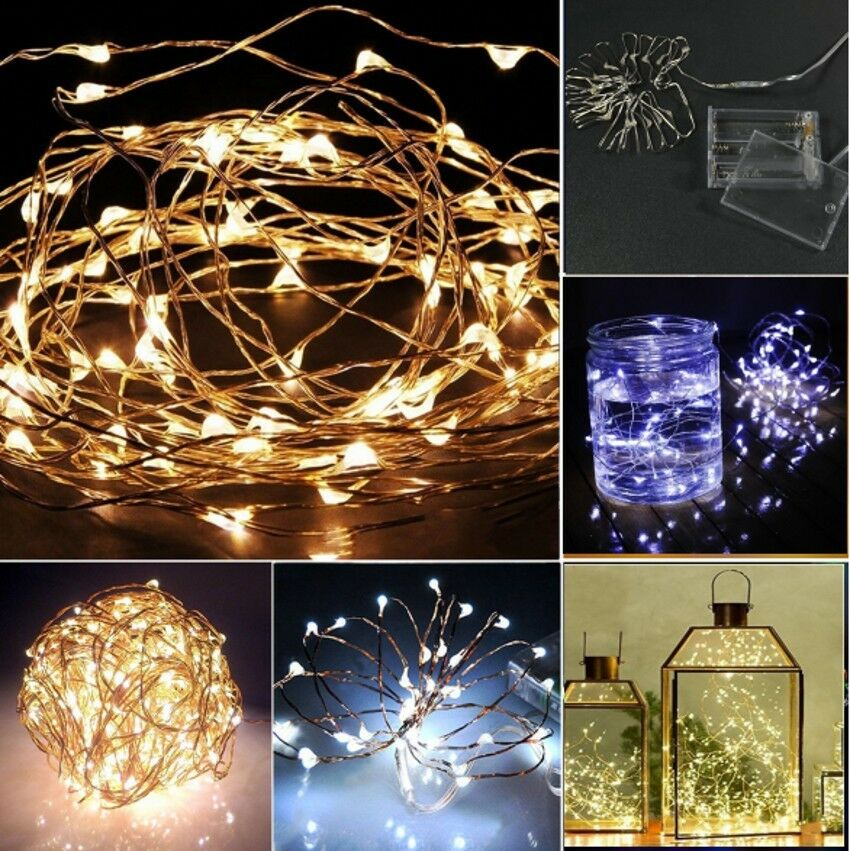 String Lights With Battery: 20/30/40 LED Battery Operated Mini LED Copper Wire String