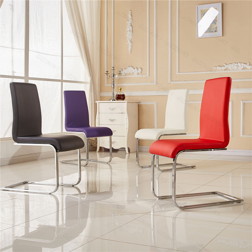 Modern faux leather dining chairs high back metal chrome for Modern leather dining room chairs