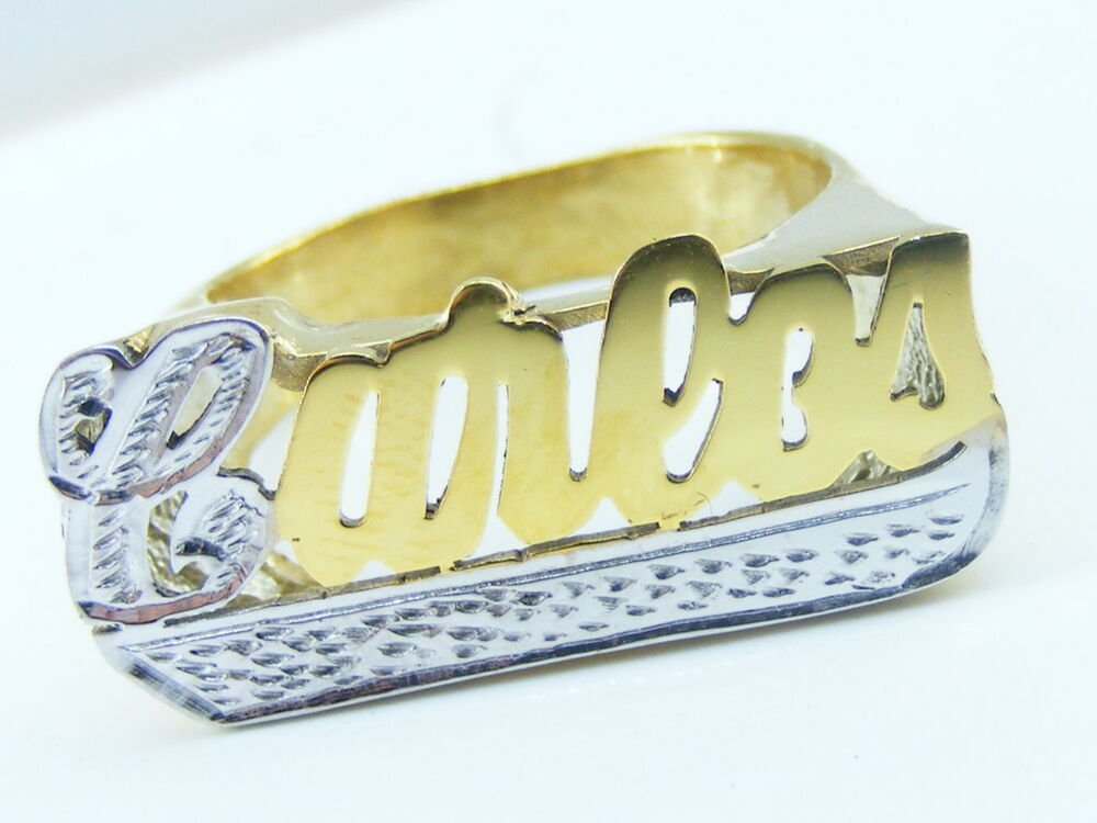 personalized unisex 14k gold silver flat name ring any. Black Bedroom Furniture Sets. Home Design Ideas
