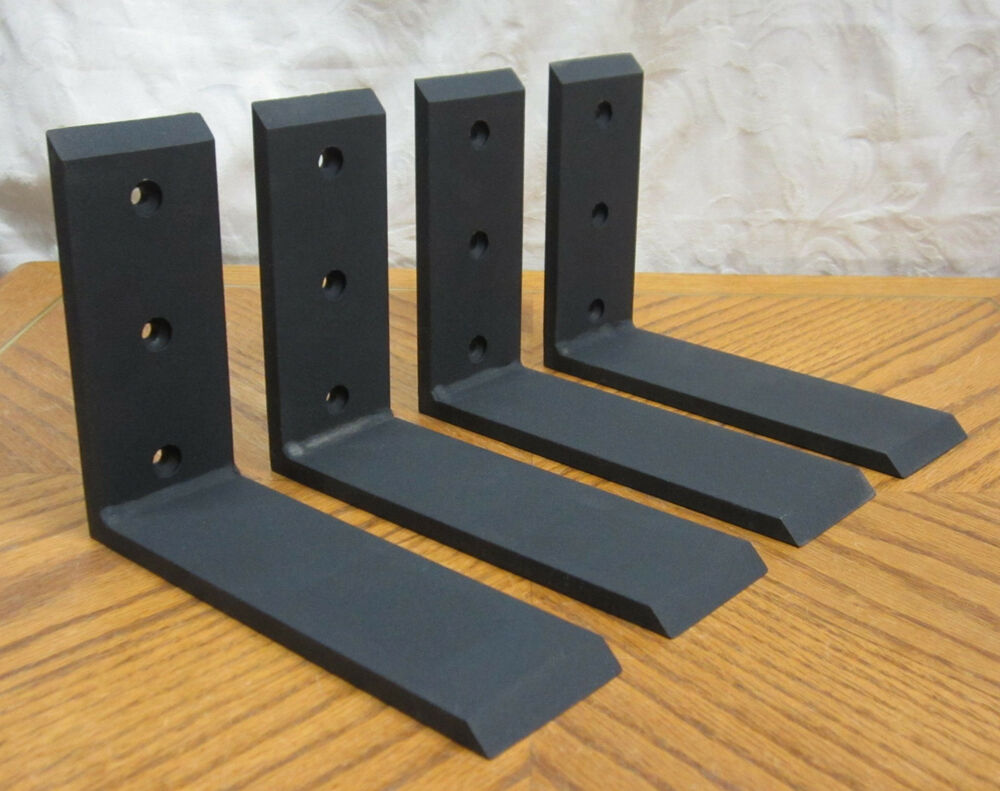 4 heavy duty black steel 6 x8 countertop support brackets. Black Bedroom Furniture Sets. Home Design Ideas