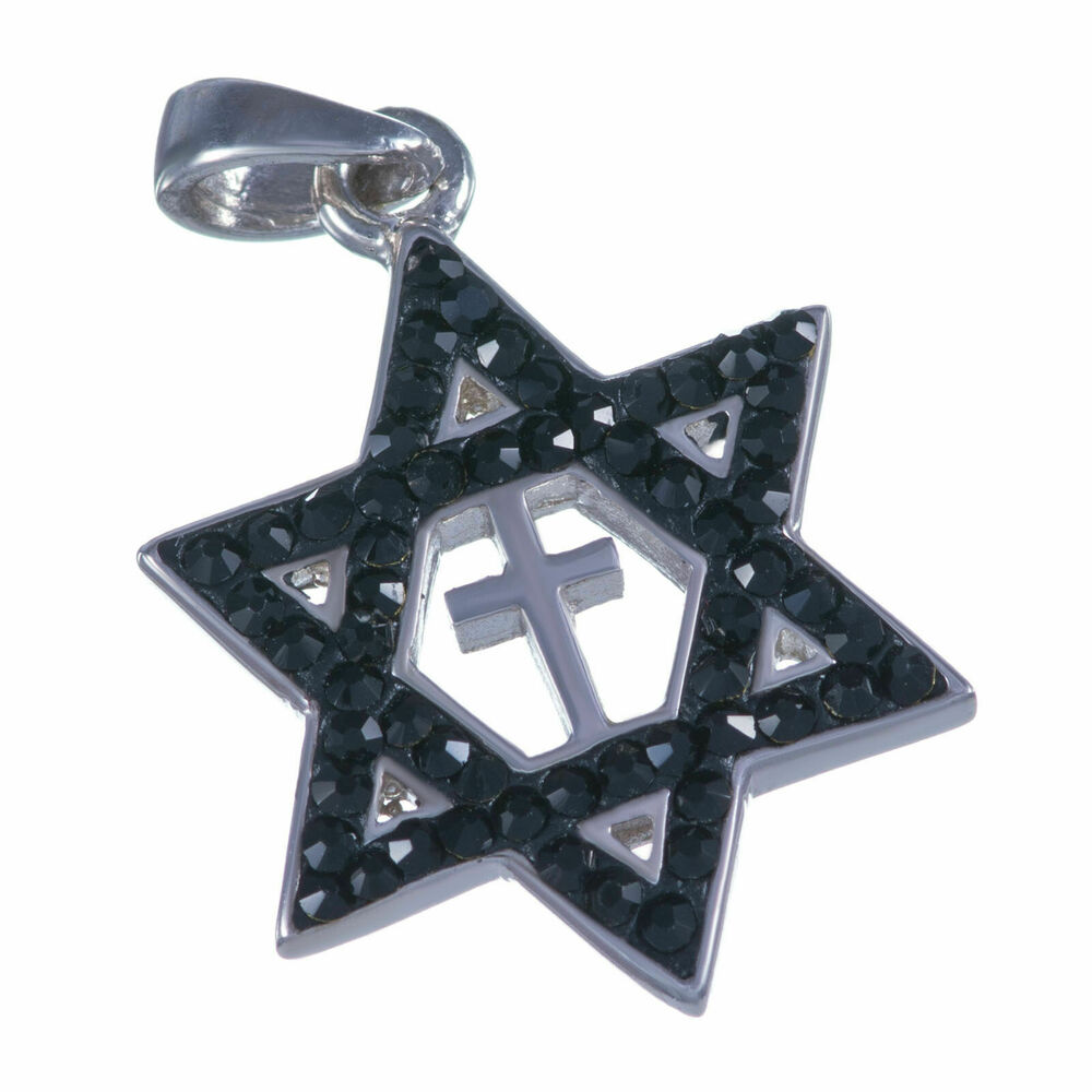 Sterling silver 925 black swarovski messianic star of for Black and blue jewelry cross necklace