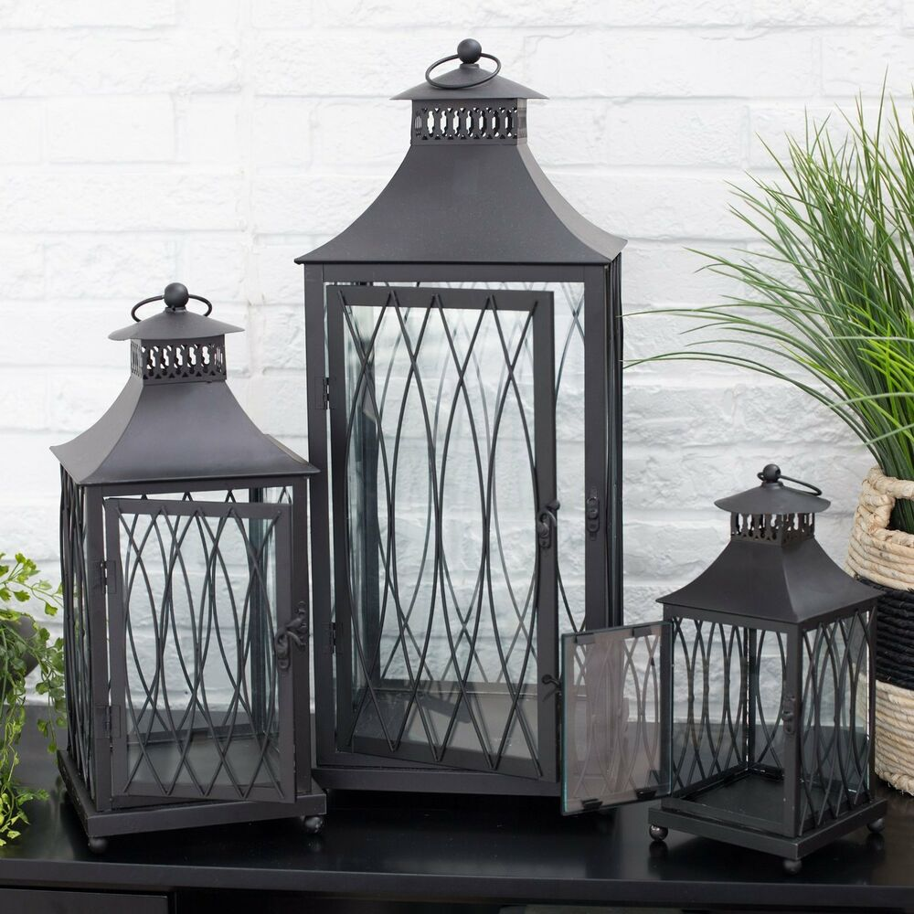 Black metal lantern set 3 candle holder modern decor for Contemporary decorative accessories