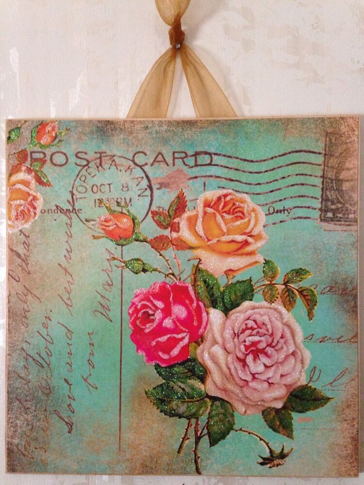 vintage shabby roses green postcard wall decor sign plaque french country chic ebay. Black Bedroom Furniture Sets. Home Design Ideas