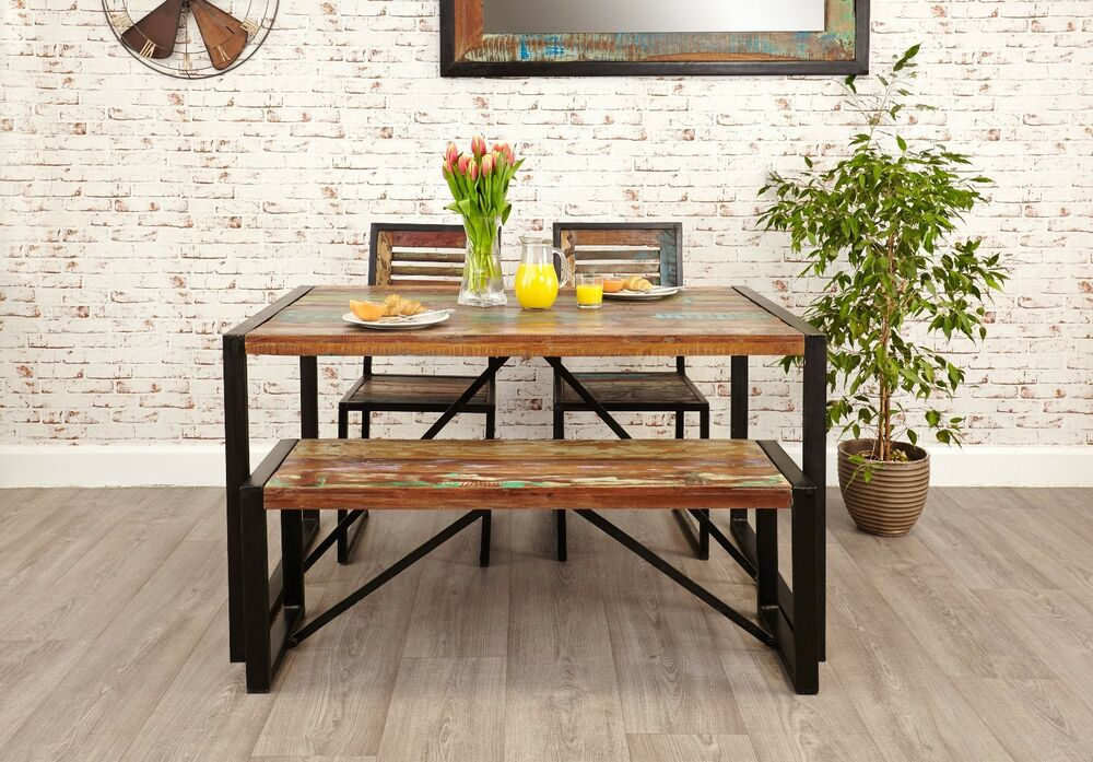 Agra reclaimed wood furniture dining table two chairs and