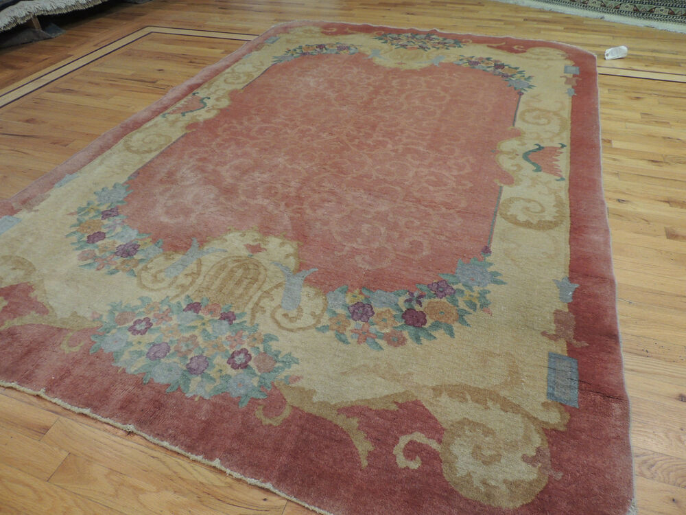 Beautiful Antique Art Deco Chinese Oriental Area Rug 6x9