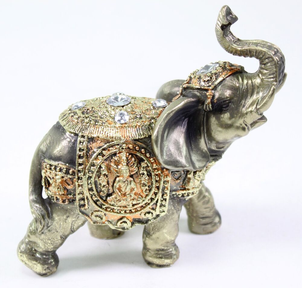 Elephant Home Decor: Feng Shui Bronze Elephant Trunk Statue Wealth Lucky