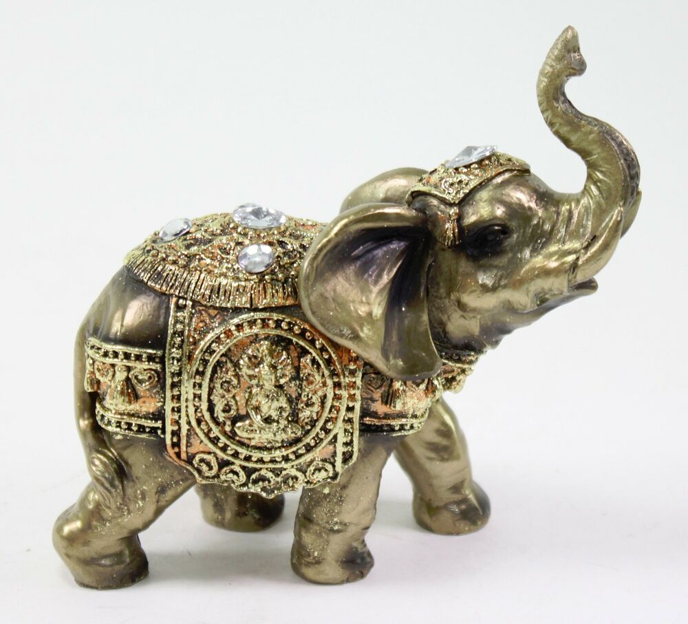 Feng Shui 5 Bronze Elephant Trunk Statue Wealth Lucky