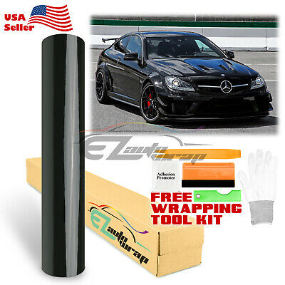 *Gloss Glossy Black Vinyl Car Wrap Sticker Decal Bubble Free Air Release  Film