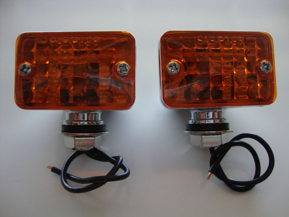 Hot Rod Turn Signals : Chrome mini turn signal running lights volt fits chevy