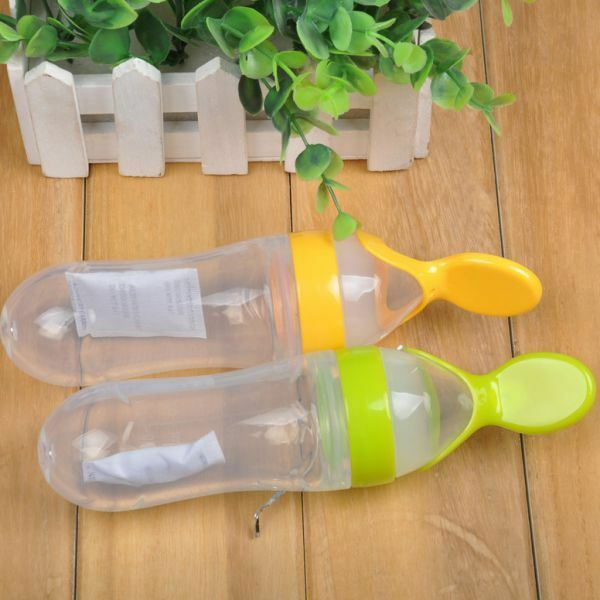 1Pc Infant Baby Silicone Feeding With Spoon Feeder Food