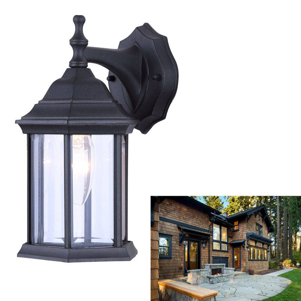 Single bulb exterior wall lantern light fixture sconce outdoor matte black ebay for Exterior light sconce