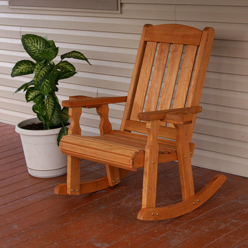 Amish Heavy Duty 600 Lb Mission Pressure Treated Rocking Chair With Cupholders Ebay