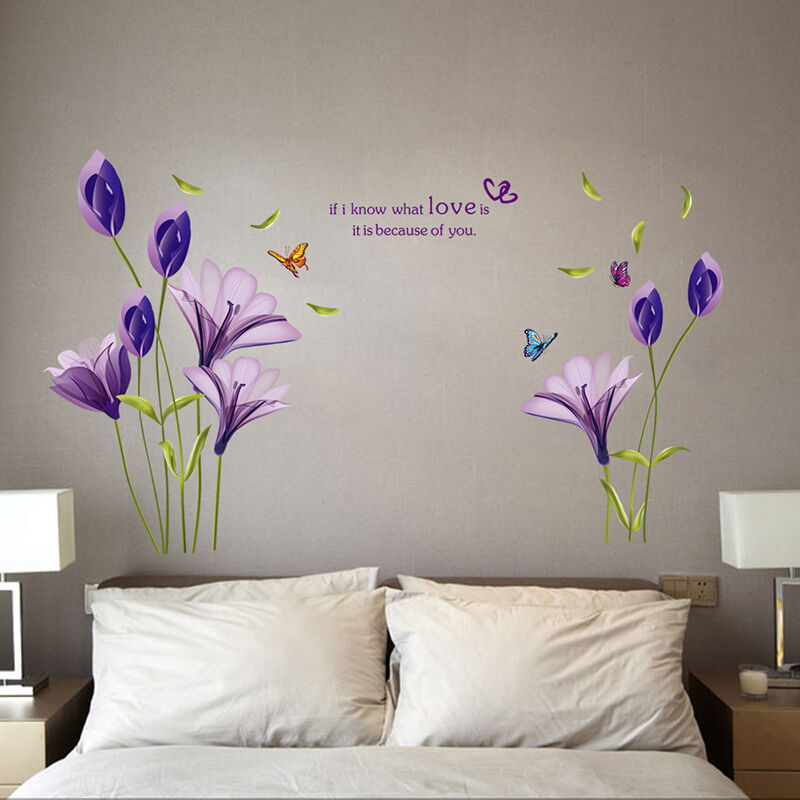 Purple Pollen Removable Wall Art Decal Sticker Diy Home