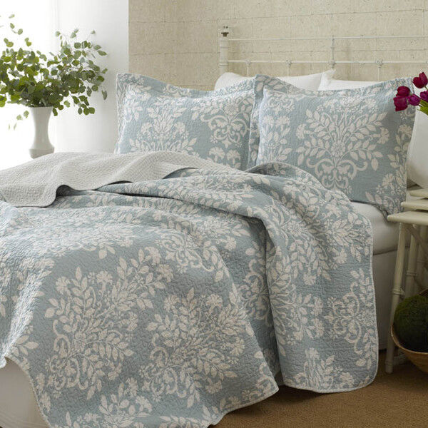 3pc Laura Ashley Coverlet Quilt Set Queen Size Reversible Bedspread Blue White Ebay