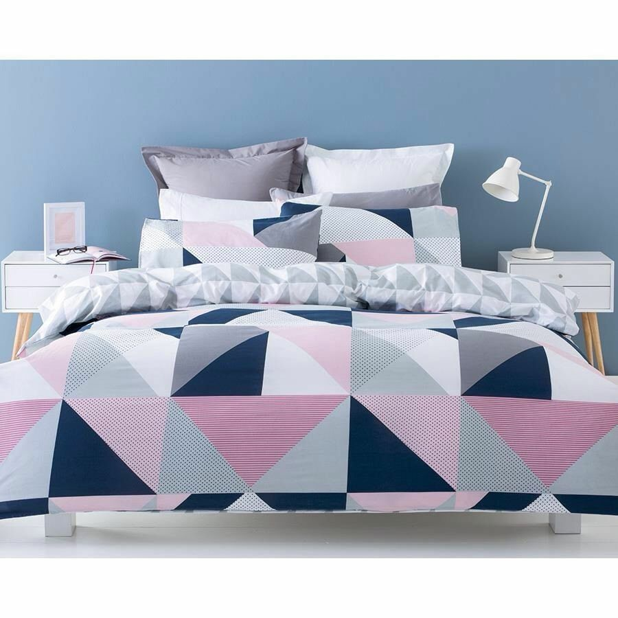 Navy Pink Grey White Geometric King Bed Quilt Doona Cover