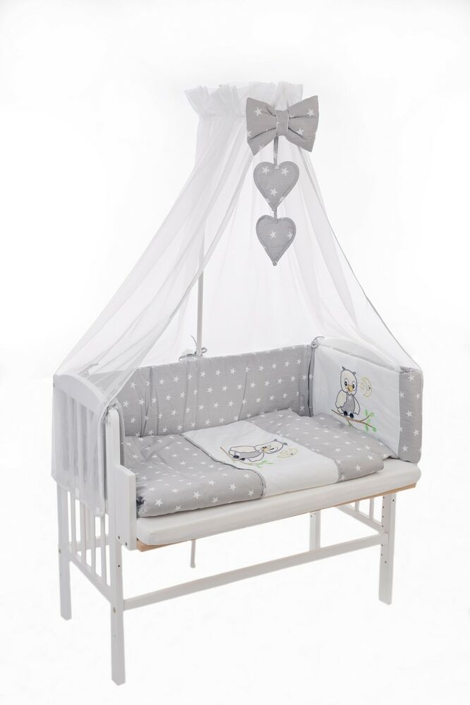 beistellbett babywiege babybett komplett 3in1 himmel bettset eule gestickt grau ebay. Black Bedroom Furniture Sets. Home Design Ideas