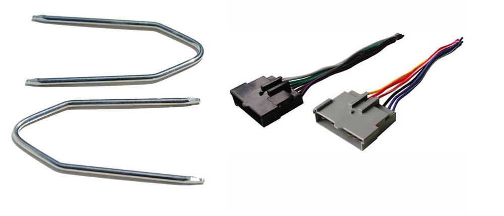 Wire harness and radio removal tool for aftermarket stereo