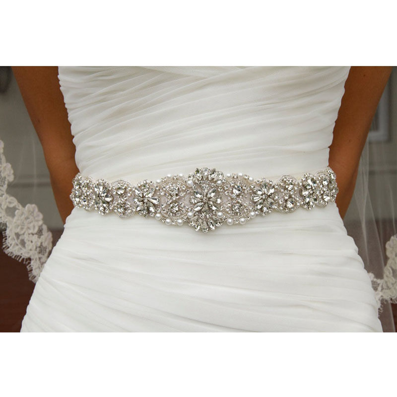 Wedding bridal belt crystal rhinestone dress sash prom for Wedding dress sash with rhinestones