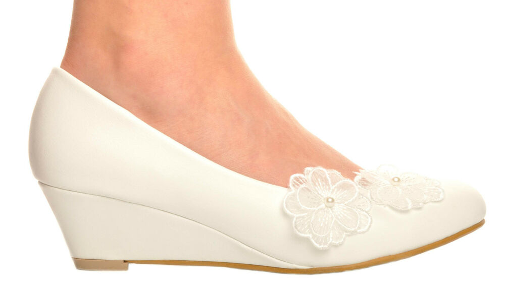 a22d3b70182 Off White Lace Flowers Pearl Wedge Heels Wedding Pumps Bridal Shoes ...