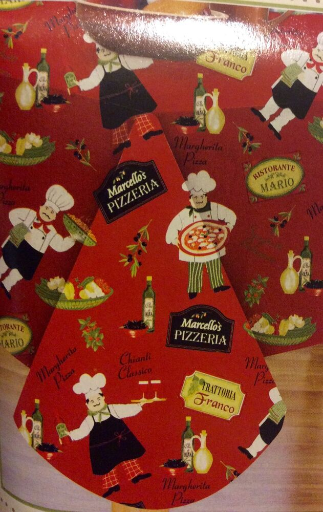 Italian Bistro Chef Vinyl Tablecloth Oblong 60 X 84 Seats