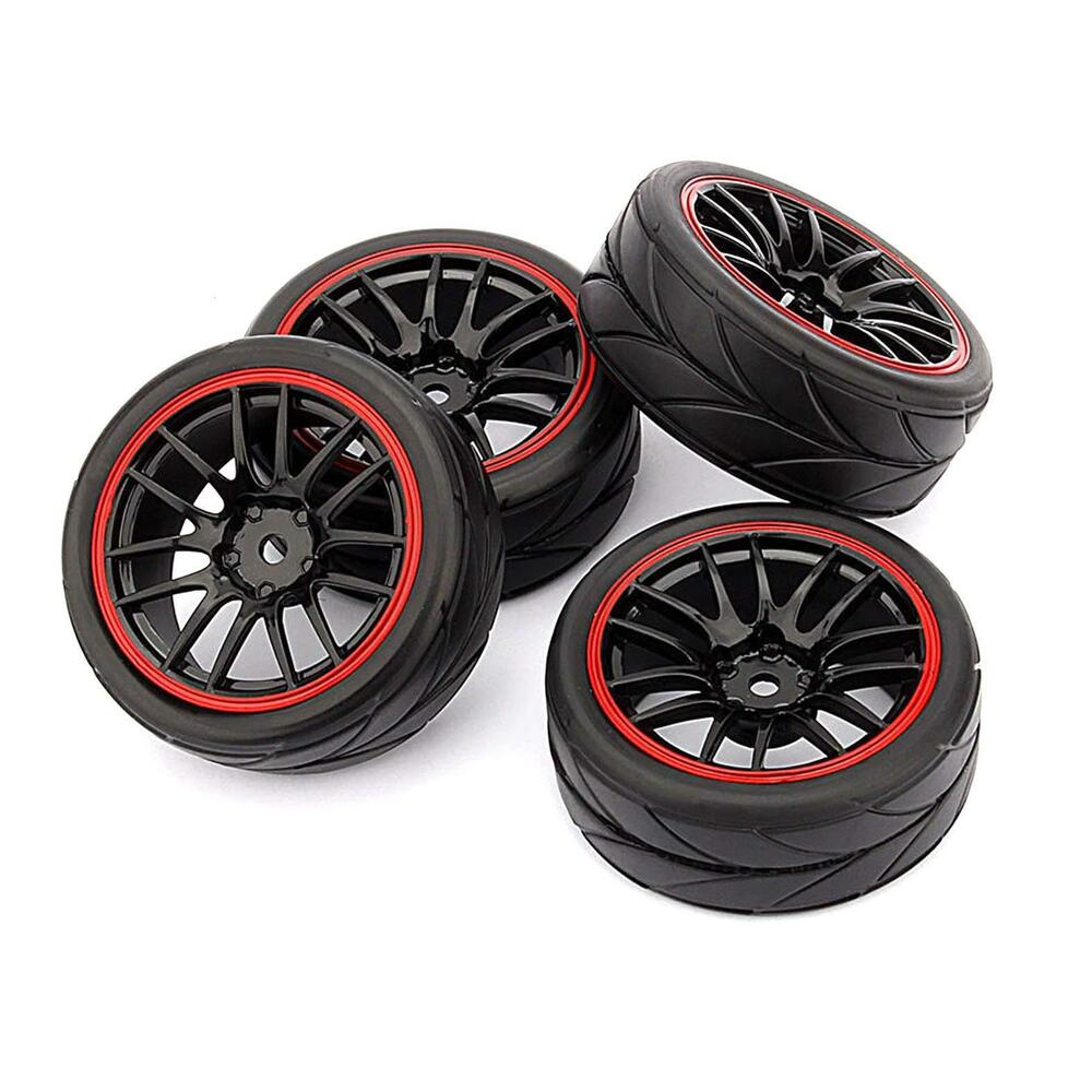 4pcs 12mm Hub Wheel Rims Amp Rubber Tires For Rc 1 10 On