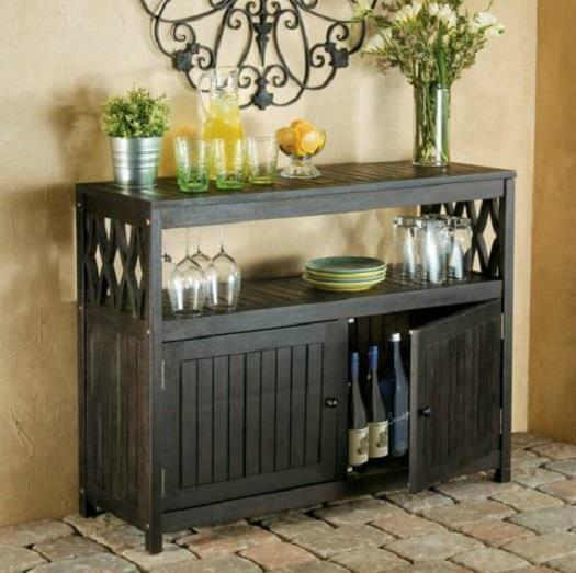 Espresso Outdoor Eucalyptus Wood Sideboard Buffet Server