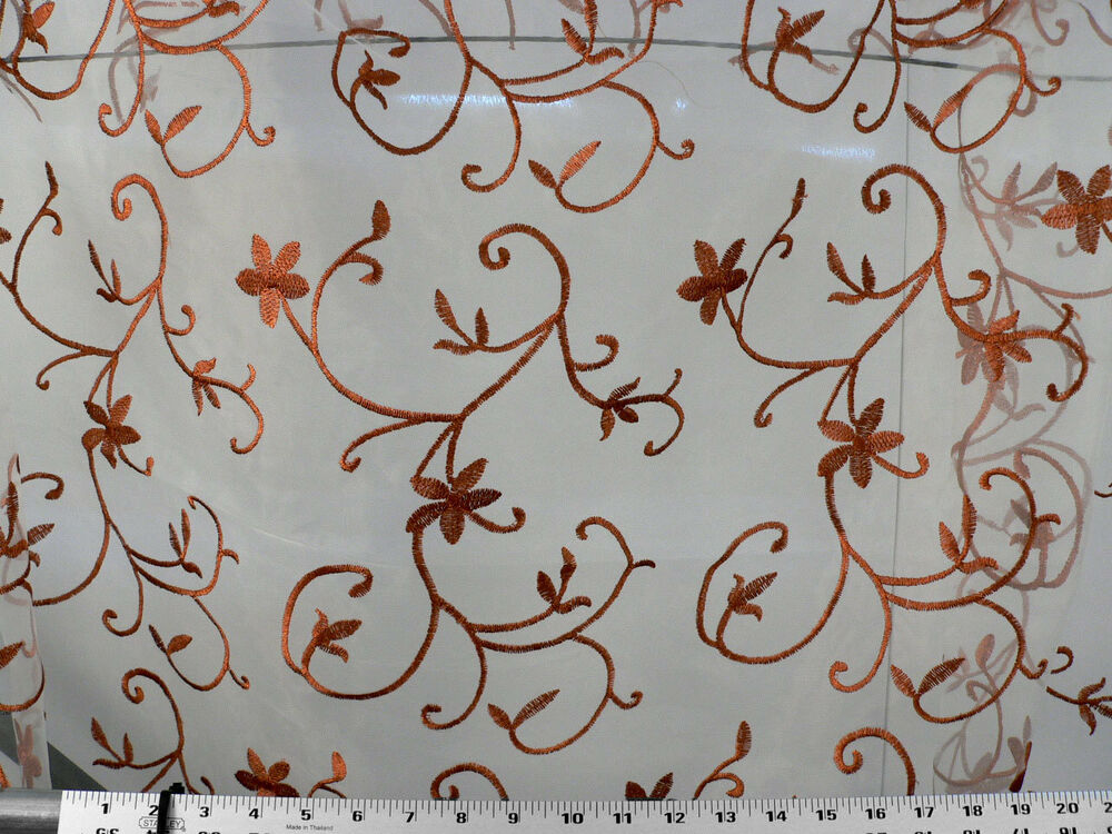 Drapery upholstery fabric floral scroll embroidered voile for Floral upholstery fabric