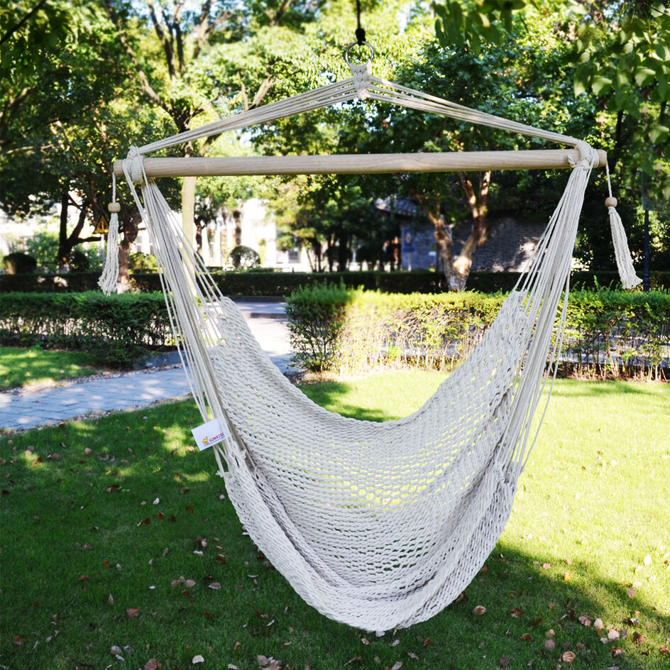 New Hanging Swing Cotton Rope Hammock Chair Seat Patio