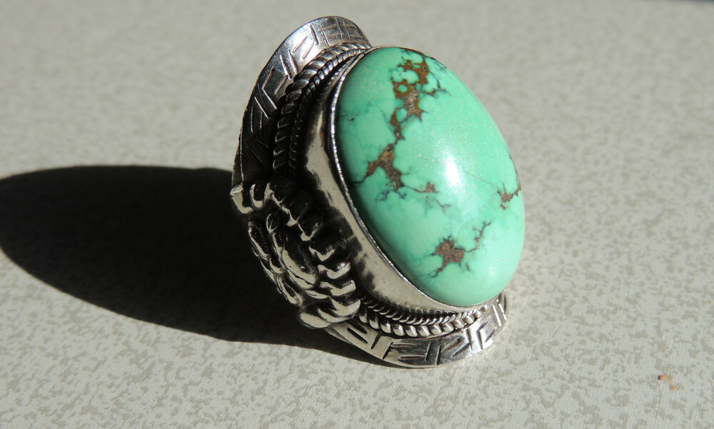 large sterling silver mens turquoise ring ebay
