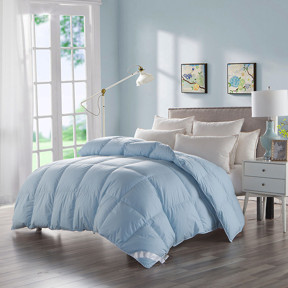 luxury goose down filled duvet comforter queen size egyptian cotton blue solid ebay. Black Bedroom Furniture Sets. Home Design Ideas