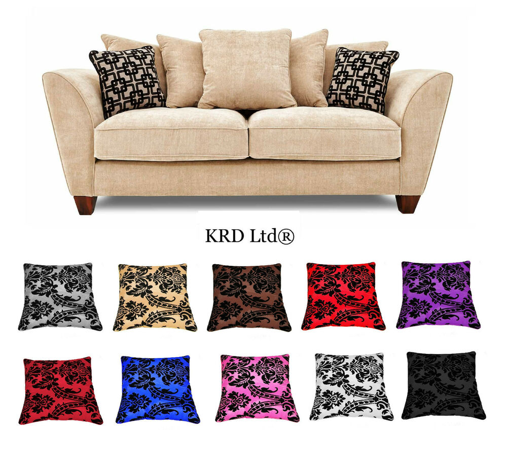 Luxurious damask cushion covers 18quotx18quot flock 14 colours for Sofa cushion covers ebay