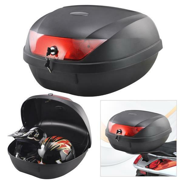 motorcycle back top box case universal scooter motorbike for luggage 2 helmets ebay. Black Bedroom Furniture Sets. Home Design Ideas