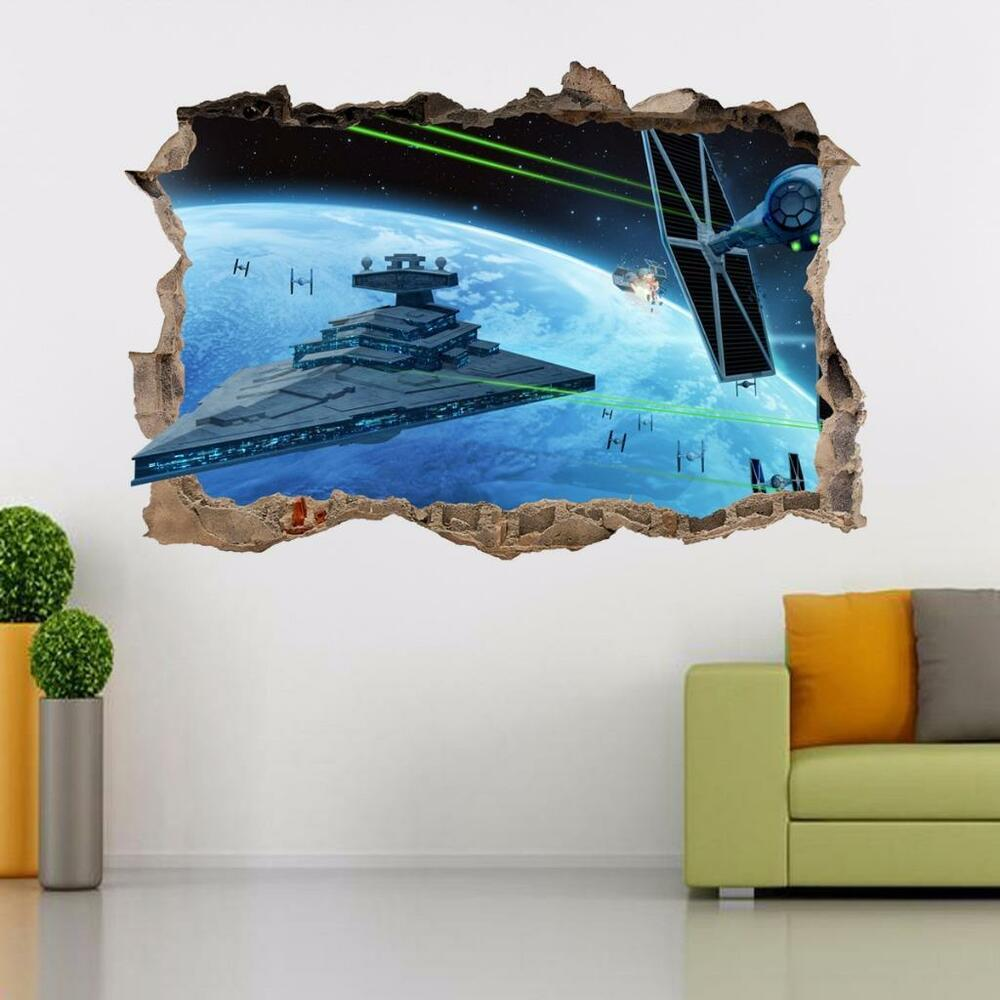 star wars destroyer ship smashed wall 3d decal wall sticker wandtattoos art h286 ebay. Black Bedroom Furniture Sets. Home Design Ideas