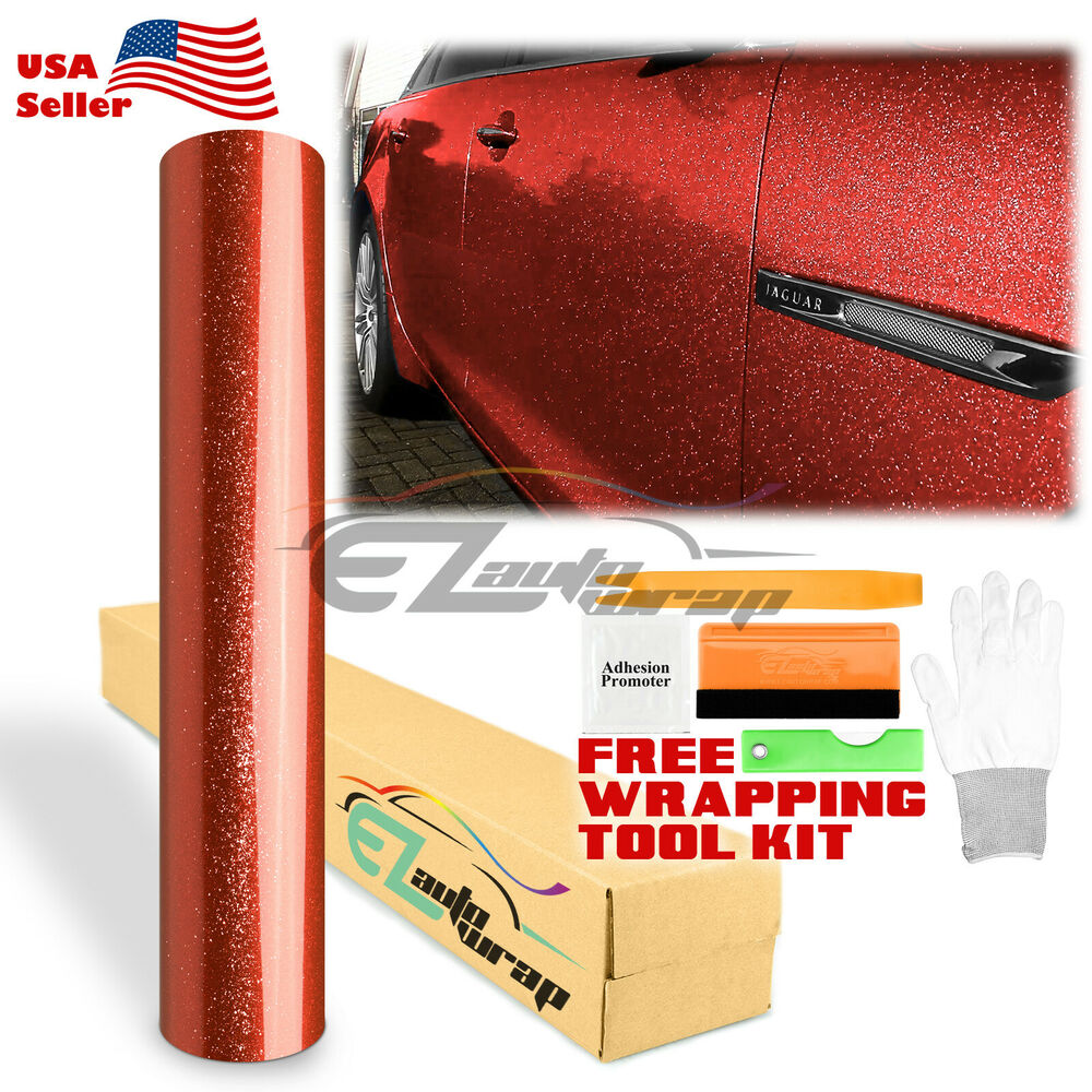 Car Paint Colors >> *Gloss Glitter Red Metallic Sparkle Car Vinyl Wrap Sticker Bubble Free Film | eBay