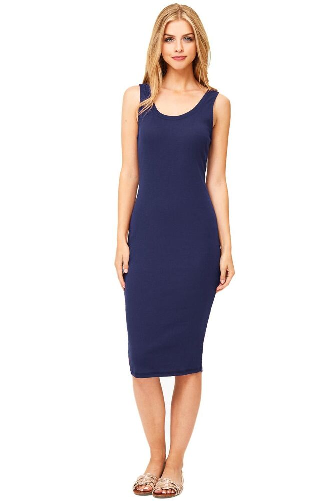 Cute Basic Long Midi Length Dress Ribbed Knee Length Tank ...